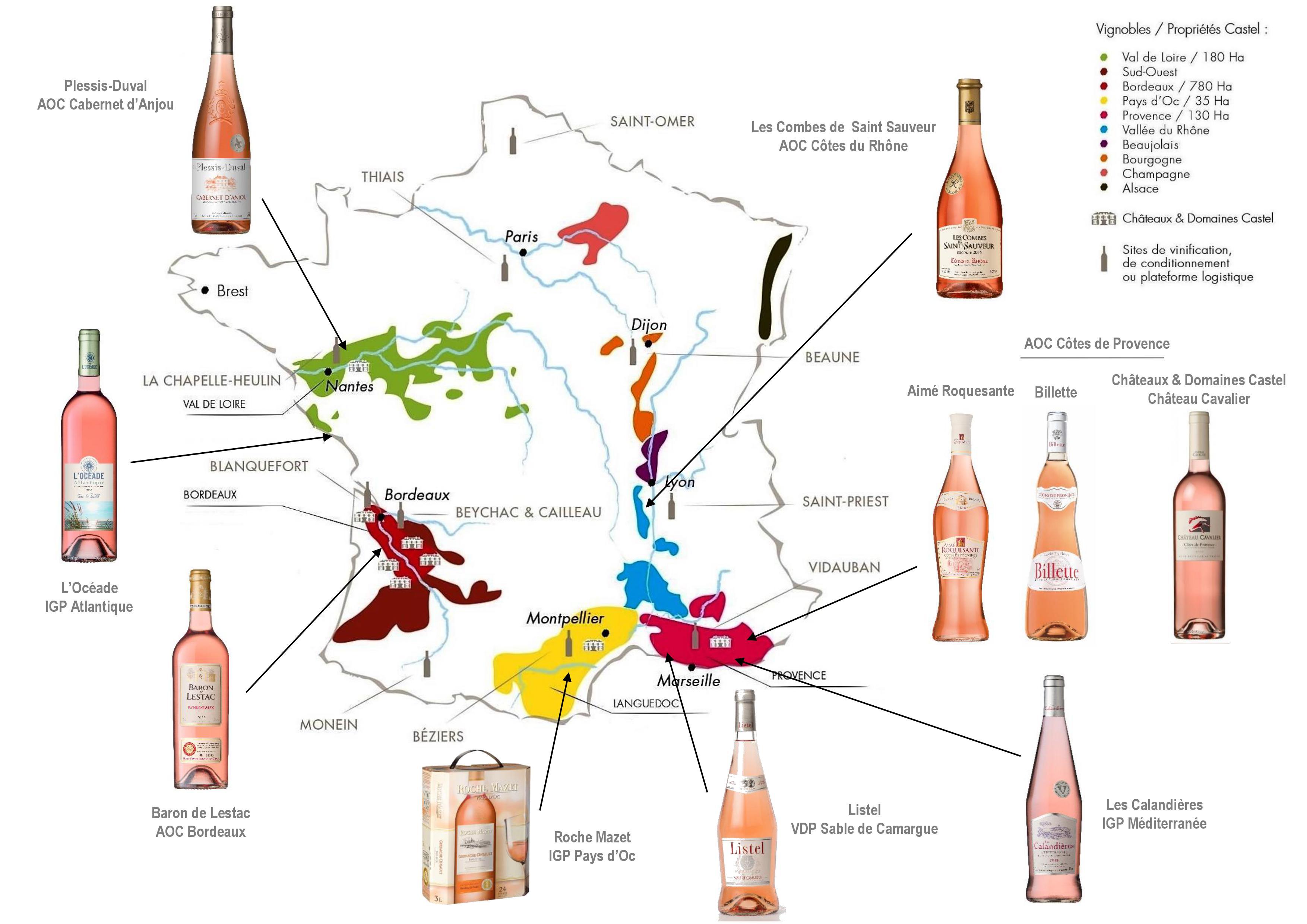 Carte des vins rosés de Castel