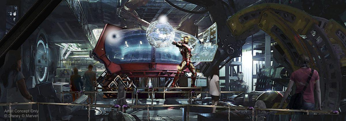 Le premier concept art présente Iron Man dans Rock'n'Roller Coaster.