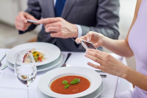 Photos de plats dans un restaurant