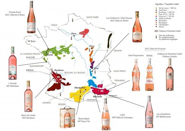 La carte des vins rosés de Castel.