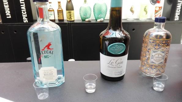 Une sélection de produits présentés au Bar des innovations, lors de l'édition 2016 de Cocktails Spirits.