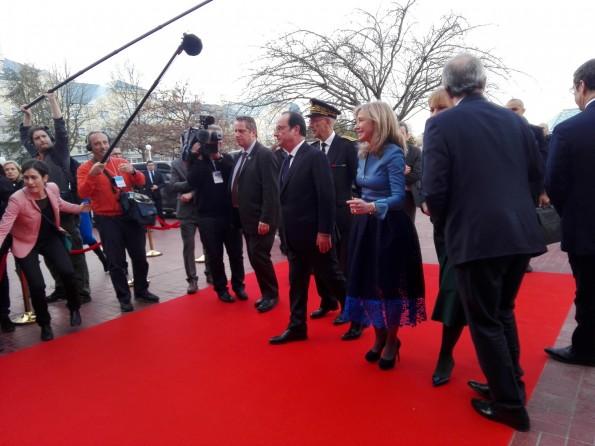 Arrivée de François Hollande à Disneyland Paris, le 25 février 2017
