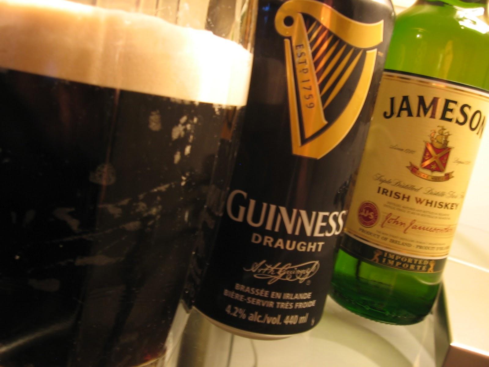 Bière Guinness et whiskey Jameson