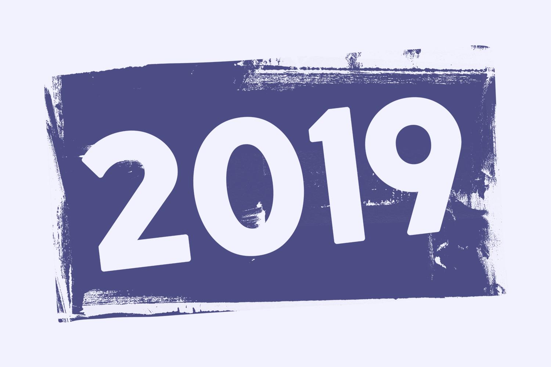 Année 2019 en peinture bleue