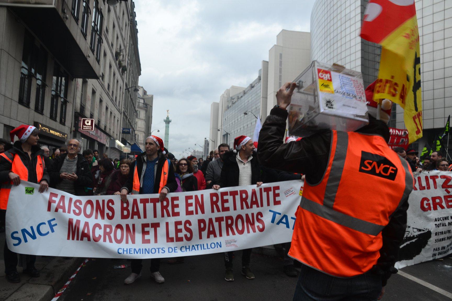 Paris - 17 décembre 2019 - Manifestation contre la réforme des retraites - CGT - Solidaires