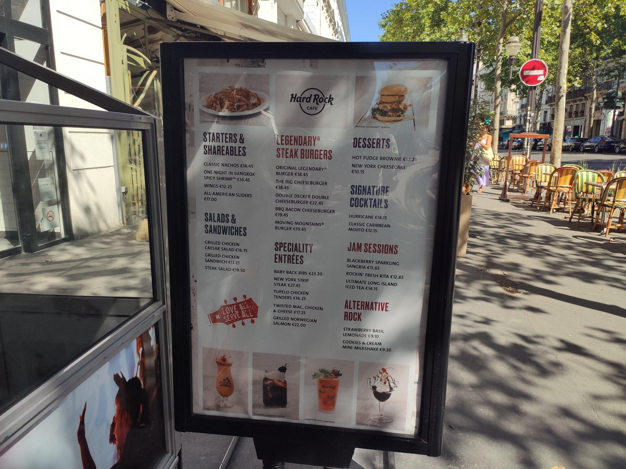 Hard Rock Cafe Paris - Carte été 2020